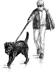 boy and his dog on a walk
