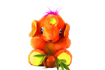 orange elephant and tangerine with green leaves