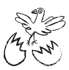doodle bird hatching from egg