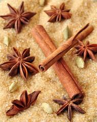 Spices cinnamon sticks,  cardamon and anise