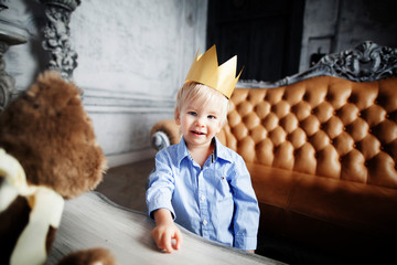 business prince cute baby smiling cheerful happy with crown
