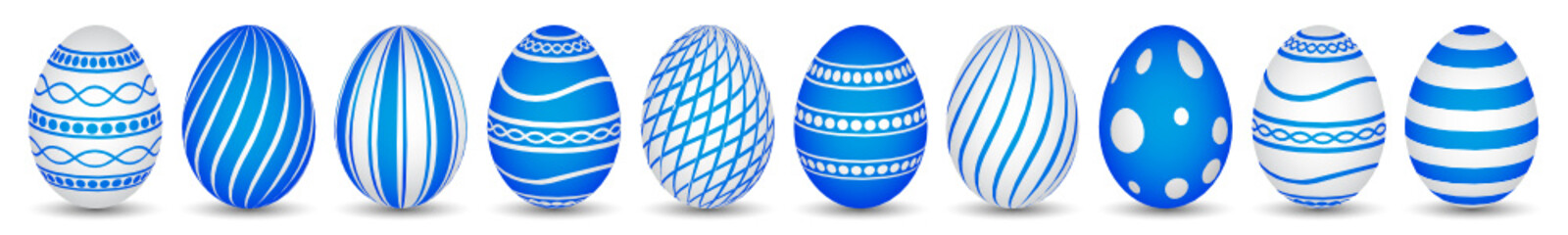 ten easter eggs in blue with texture