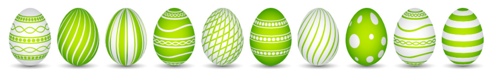 ten easter eggs in green with texture