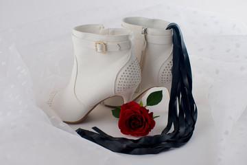 High heels, latex whip