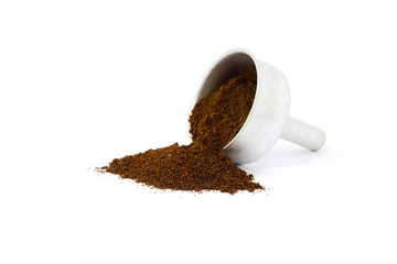 Ground coffee on white background