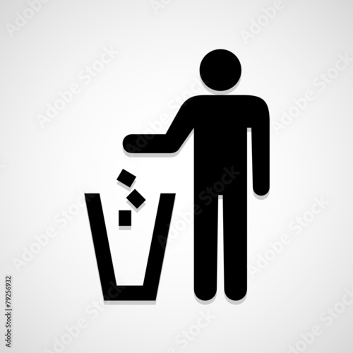 Trash bin icon great for any use. Vector EPS10. - 79256932