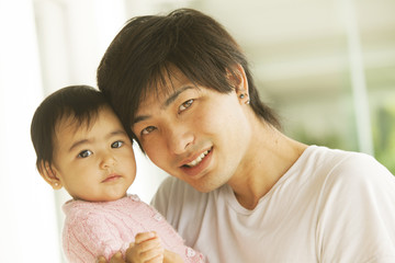 Japanese man with baby