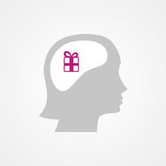 Female head and gift box