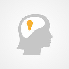 Female head and light bulb
