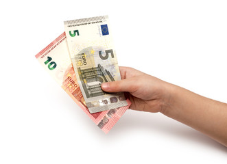Euro banknotes in children's hands