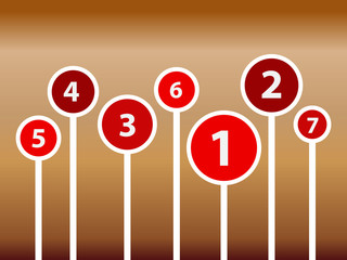 Infographic elements with lollipops and numbers