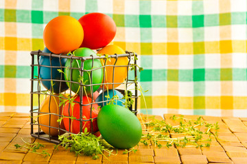 Beautiful decorative easter eggs in metal can