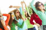 Fototapety Happy teenager women dancing