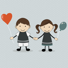 Cute happy cartoon kids with balloons