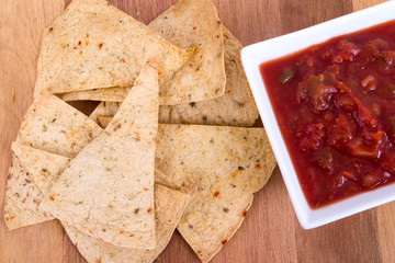 oven baked tortilla chip with salsa