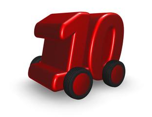nummer zehn auf rädern