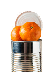 Oranges bursting out of tin can