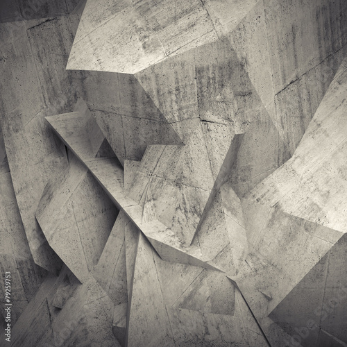 Abstract concrete 3d background, wall with relief