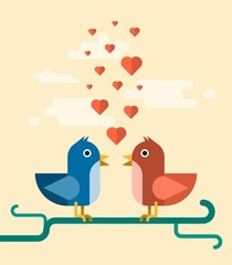 vector two birds singing love song, concept illustration