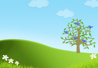 Spring background with tree