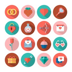 vector love and Valentine's day flat icons