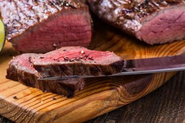 Rare roast beef sirloin