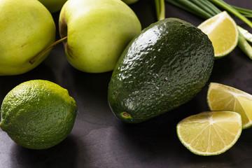 Organic Raw Green avocado, apples and limes