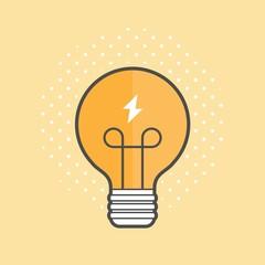 light bulb spreading light, vector flat line illustration