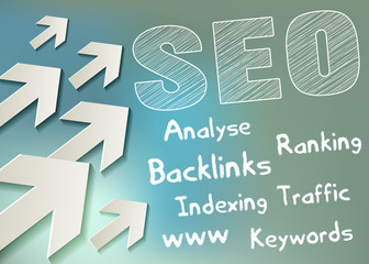 SEO symbol white Scribble with arrows on bokeh background