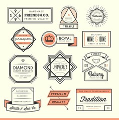 set of vintage logos, badges and labels