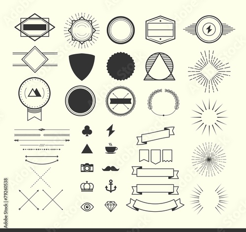 set of vintage elements for making logos, badges and labels - 79260538