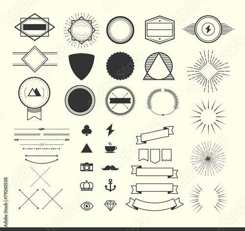 set of vintage elements for making logos, badges and labels poster