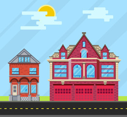 Set buildings house, Old house and  fire station. Vector flat il