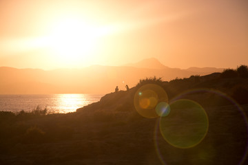 Beautiful sunset with sun effects, Mallorca, Spain.