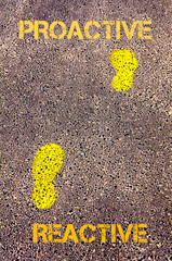 Yellow footsteps on sidewalk.Reactive to Proactive message