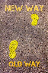 Yellow footsteps on sidewalk from Old Way to New Way messages