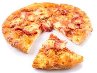 Pepperoni and cheese pizza over white background