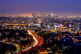 Los Angeles downtown and hollywood skyline at night