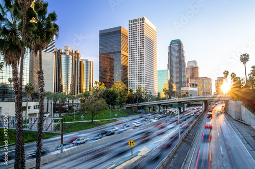Aluminium Los Angeles Los Angeles highway commuter traffic downtown skyline