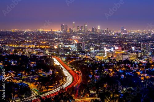 Los Angeles downtown and hollywood skyline at night Poster
