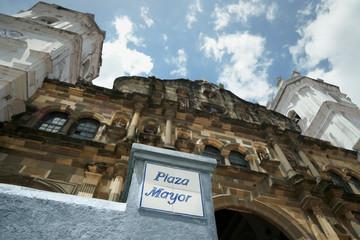 Panama City Cathedral in plaza Mayor Casco Antiguo