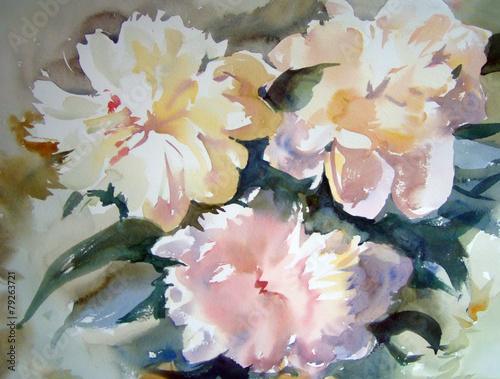 Plakat Watercolor painting of the beautiful flowers