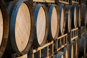 Stack of wine barrels
