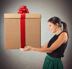 Happy woman received the gift