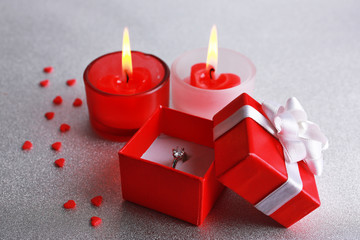 Romantic gift with candles, love concept