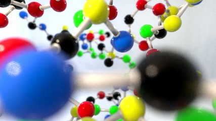 Molecule ball and stick model fly through atoms chemistry biolog