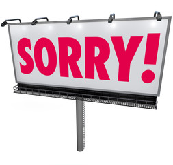 Sorry Word Billboard Apology Regret Remorse Asking Forgiveness S