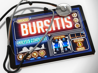 Bursitis on the Display of Medical Tablet.