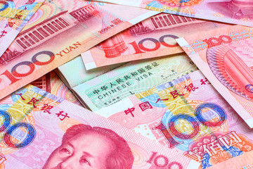 Chinese Yuan Note with Chinese visa