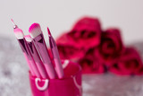 close-up pink professional cosmetic brush poster